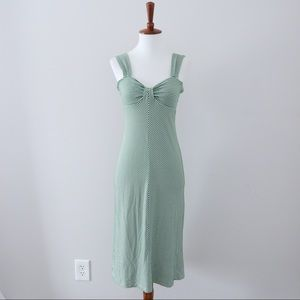 Max Studio Green Stripe Midi Dress Sweetheart Neck
